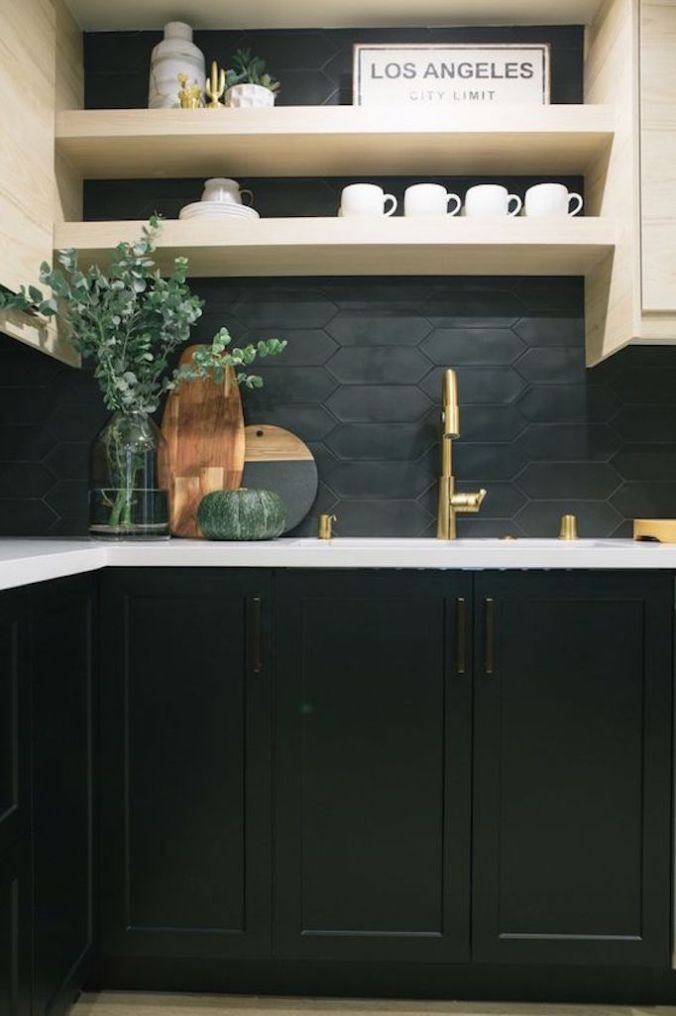 Black Tile Backsplash