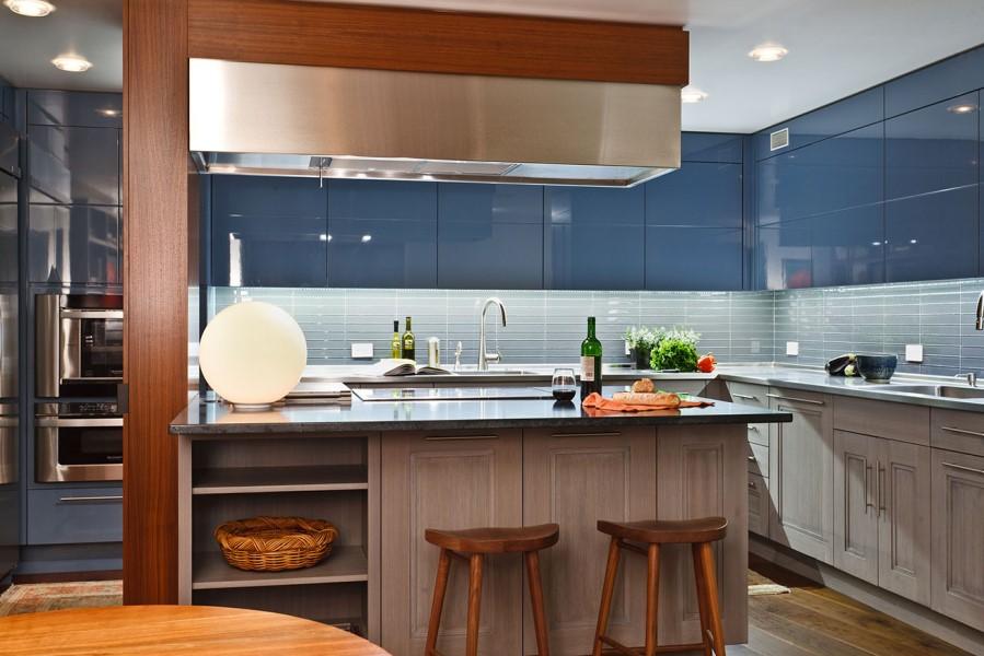 Blue High Sheen Cabinets