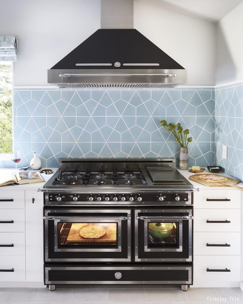 blue tile kitchen back splash