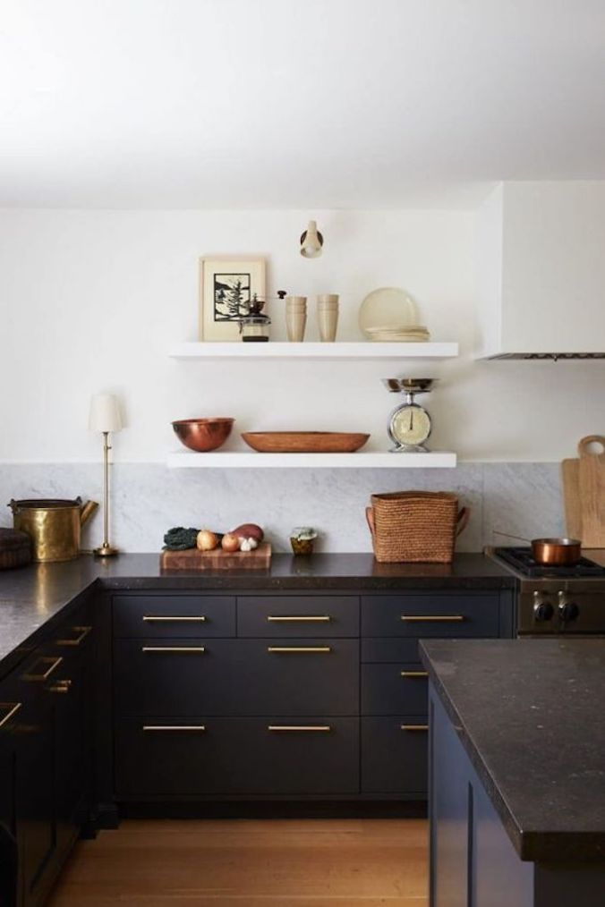 Black Kitchen cabinets with Gold Handles